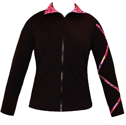 Criss Cross Poly/Spandex Party Pink Ice Skating Jacket