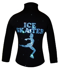 Ice Skating Jacket with Aqua Crystals Ice Skater Design