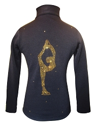 Figure Skating Jacket by Ice Fire - Gold crystals Biellmann applique