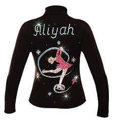 Ice Skating Jacket personalized with Name and Colorful Rhinestone Applique - CJ102