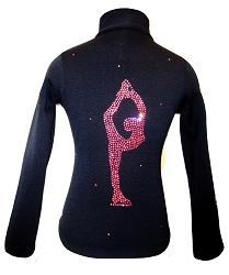 Black ice Skating Jacket with Pink Crystals