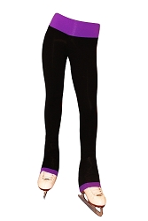 Supplex Ice Skating Pants  with Purple Waistband/Cuffs
