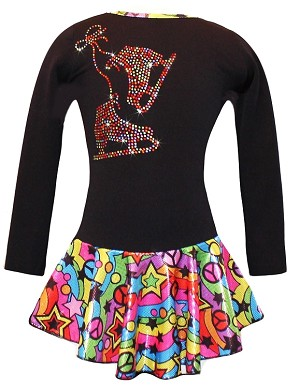 "Black ""Peace & Stars"" Ice Skating Dress with Rainbow mix ""Pair of Skates"" rhinestone applique"