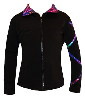Criss Cross Poly/Spandex Silver sky Ice Skating Jacket  XJ723