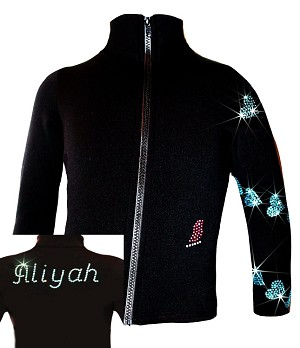 "Personalized Ice skating jacket  ""Aqua Spiral Hearts"" design"