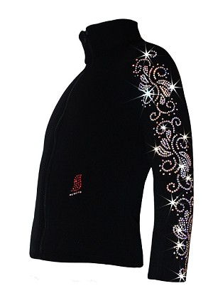 "Ice Skating Jacket with  ""Crystals Swirls"" Rhinestones Design"