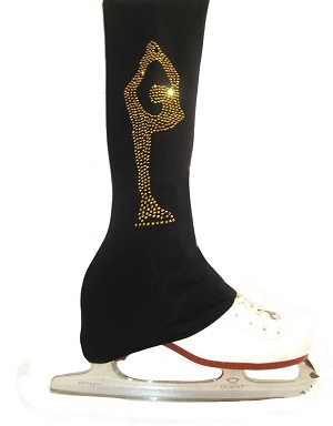 "Figure Skating Pants with gold crystals  ""Biellmann"" rhinestone applique"