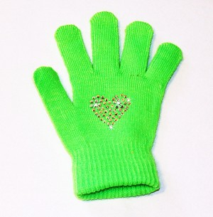"Neon Green Skating Gloves with ""Heart"" Rhinestone Design"