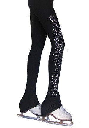 "Ice Skating Pants with ""Love & Skate Ornament "" Rhinestone Design"