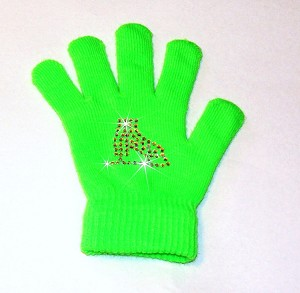 "Neon Green Skating Gloves with ""Skate"" Rhinestone Design"