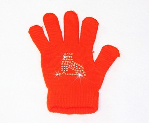 "Neon Orange Skating Gloves with ""Skate"" Rhinestone Design"