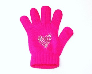 "Neon Pink Skating Gloves with ""Heart"" Rhinestone Design"