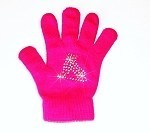 "Neon Pink Skating Gloves with ""Skate"" Rhinestone Design"