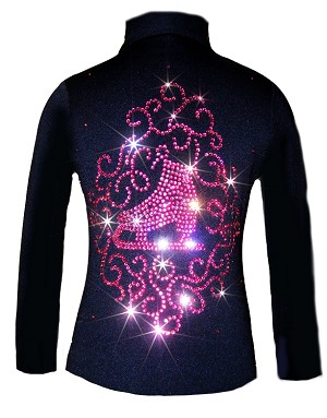 "Black Skating Jacket with Pink crystals ""Skate & Ornament""  applique"