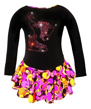 """Fantasy"" Ice Skating Dress with ""Pair of Skates"" Rhinestones Design (Pink/Orange)"