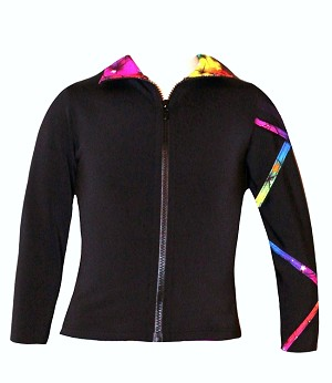 Criss Cross Poly/Spandex Rainbow Ice Skating Jacket  XJ121