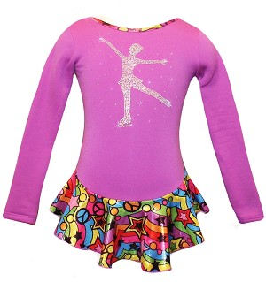 "Purple ""Peace & Stars"" Ice Skating Dress with ""Skating Girl"" applique"