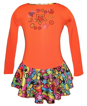 "Orange ""Peace & Stars"" Ice Skating Dress with ""Peace & Stars"" rhinestone applique"