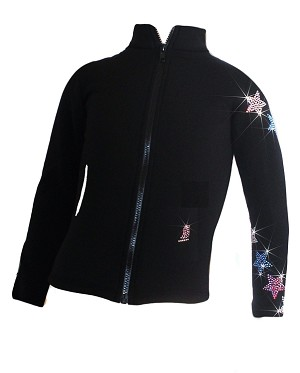"Ice Skating Jacket with ""USA Spiral Stars"" Rhinestones Design"