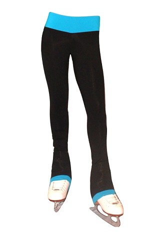 Supplex Ice Skating Pants  with Turquoise WaistBand/Cuffs