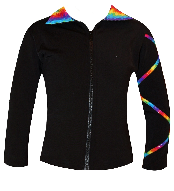 Criss Cross Poly/Spandex Spectrum Gold Ice Skating Jacket  XJ721