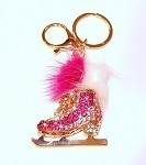 Key chain with Pink Rhinestone Skate Charm