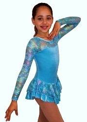 Velvet Ice Skating Dress Turquoise
