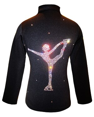 "Ice Skating Jacket with "" Chinese Spiral"" rhinestone applique"