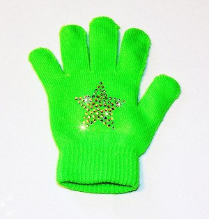 "Neon Green Skating Gloves with ""Star"" Rhinestone Design"