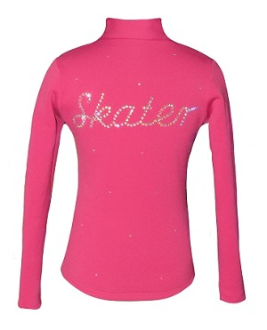 "Pink Ice Skating Jacket with  ""Skater"" Rhinestone Applique"