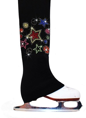 "Polartec fleece Ice Skating Pants with ""Peace &Stars"" rhinestones design"