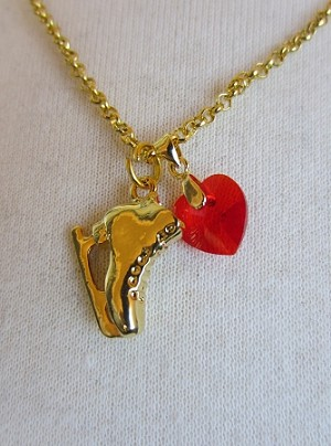 Necklace with Swarovski Red Heart and  Skate charm