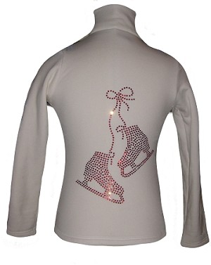 "White ice Skating Jacket with ""Pair of skates"" red crystal rhinestone applique"